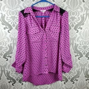 💥💥💥Candie's button down blouse hearts and lace